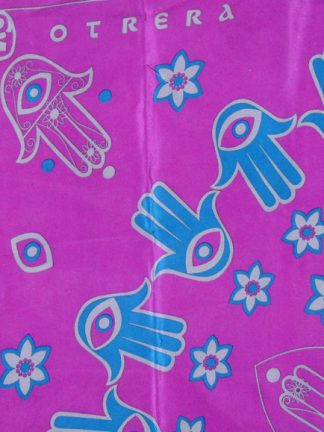 Otrera large silk scarf with a purple background and a design in blue and silver grey
