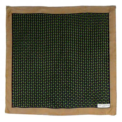 Ted Lapidus Paris silk scarf with a dark gold border