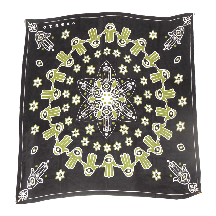 Otrera black green and white silk scarf