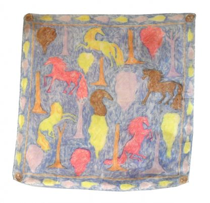 Colourful horses design silk scarf