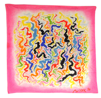 Brightly coloured abstract design silk crepe scarf