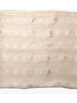 Handrolled edge cream silk satin and chiffon scarf