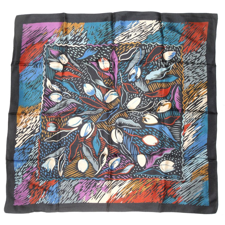 Liberty of London silk scarf with an abstract design of tulips