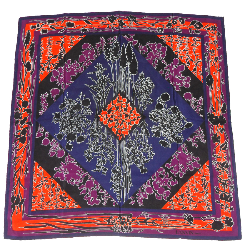 Lanvin silk scarf with a vibrant orange, purple, blue and black design