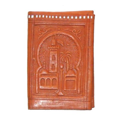 Morocco dark tan tooled leather bifold wallet