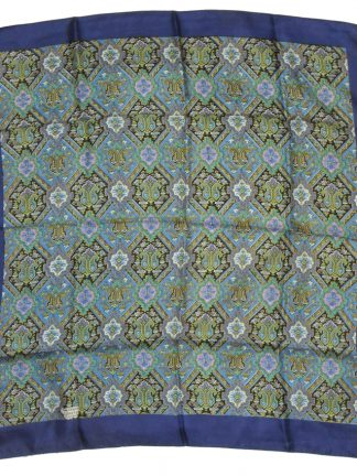 Liberty silk scarf with a blue border and a patterned central design