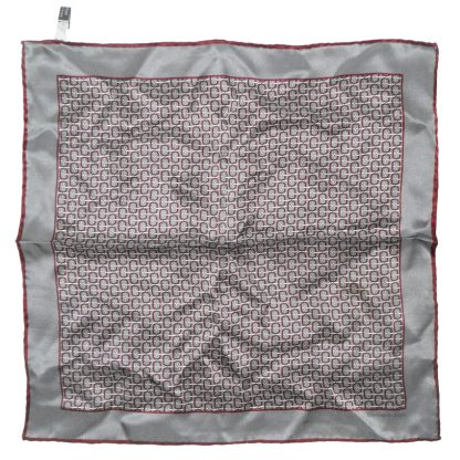 Ermenegildo Zegna silver grey and maroon silk pocket square