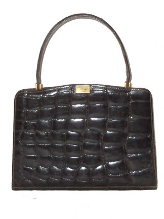 Triomphe made in France for Macy's New York crocodile skin 1960s handbag