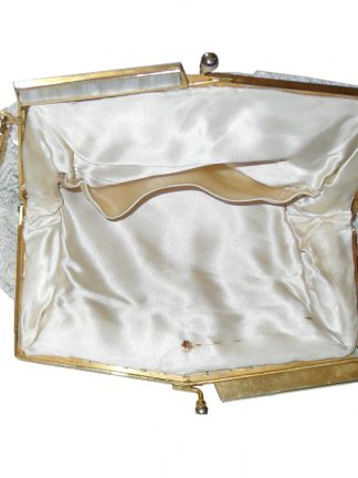 Cream and white bead and sequin framed evening bag
