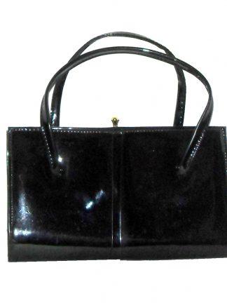 Essell England black patent framed handbag