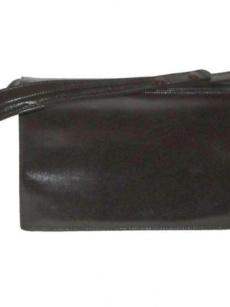 Vintage dark brown leather handbag