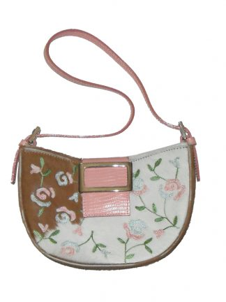 Kurt Geiger small pony skin handbag with embroidered flower detail
