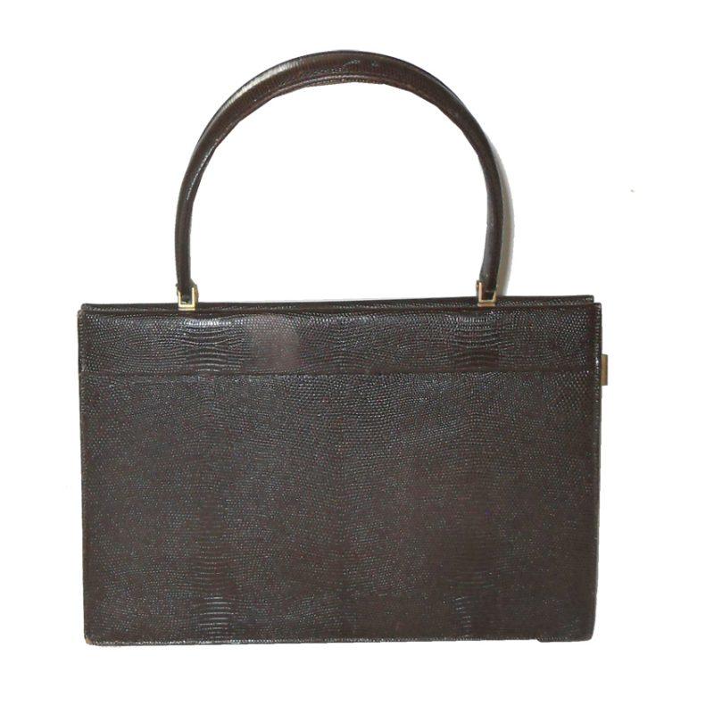 Rayne dark brown lizard skin framed handbag and purse