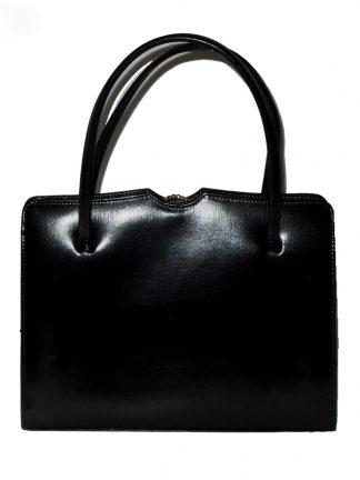 Middx black leather framed handbag