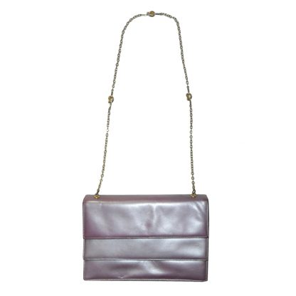 Allendé of Mayfair metallic mauve leather handbag