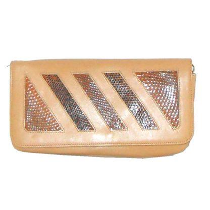 Angela tan leather and snakeskin bag
