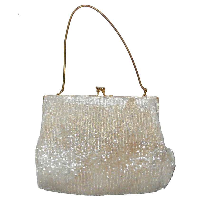 Vintage cream beaded evening purse hand made in Hong Kong