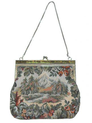 Vintage tapestry framed evening bag