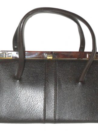 Large vintage dark brown framed handbag