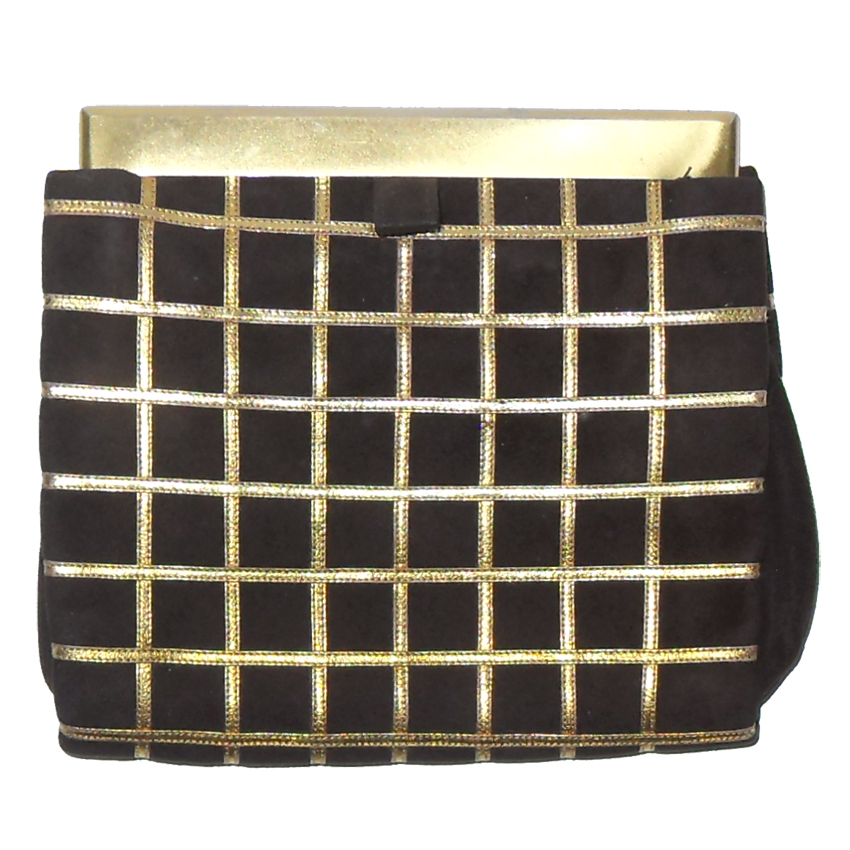 Lewis brown and gold evening clutch bag
