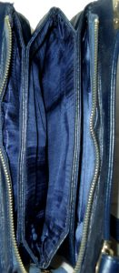 Retro blue suede and leather bag