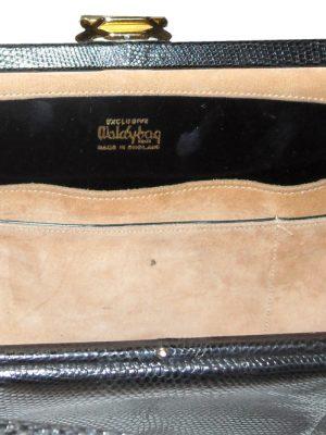 Vintage Waldybag black grained leather large framed handbag