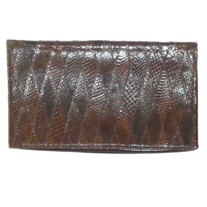 Retro brown snakeskin and leather clutch bag