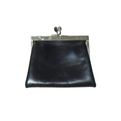 Black leather coin purse with gold tone frame and red fabric lining