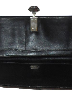 Vintage Gucci black leather and fabric purse wallet