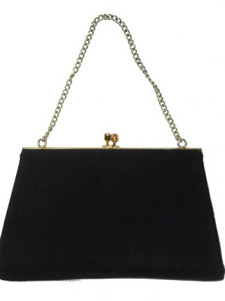 Dalawear England vintage black fabric framed evening bag