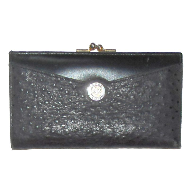 Jacob black ostrich and leather purse wallet