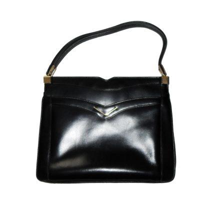 Vintage Dunhill black leather handbag