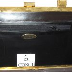Cosci hand made in Italy dark brown leather framed handbag
