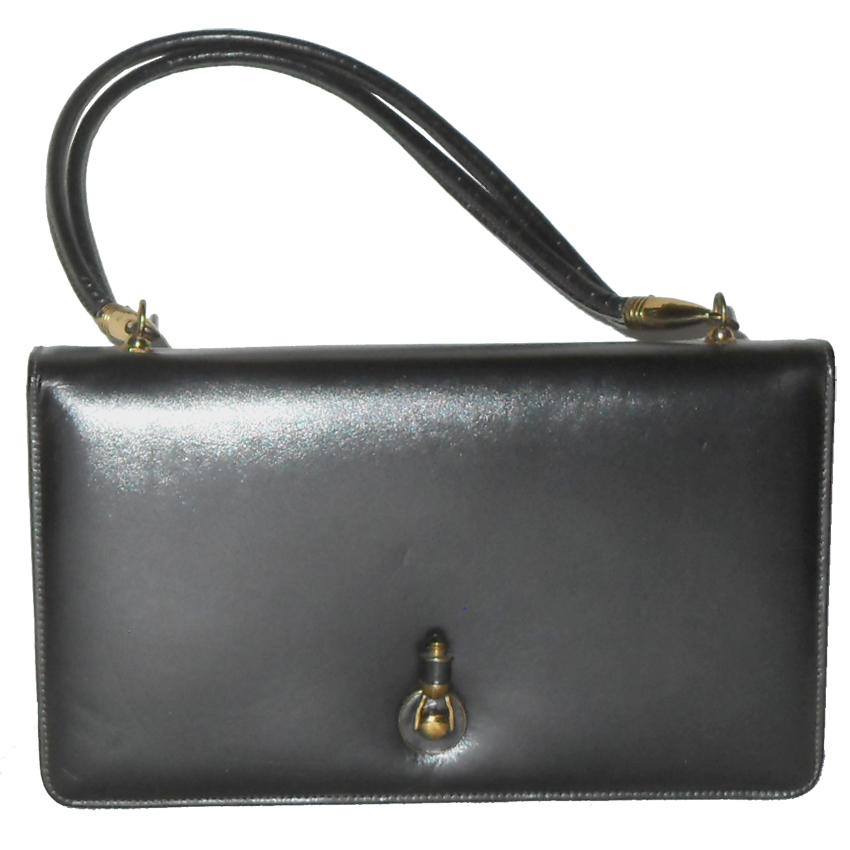 Dark grey leather handbag with detachable carry handle