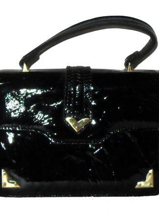 Suzy Smith England small black patent leather handbag