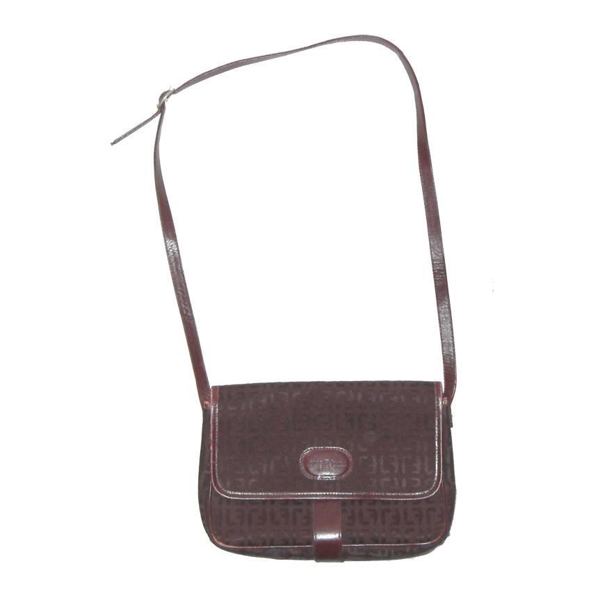 Louis Feraud Paris burgundy fabric shoulder bag with black leather lining