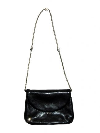 Retro Suzy Smtih England black leather bag with gold tone chain handle