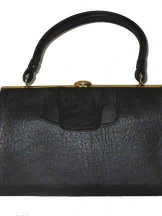 Maclaren black textured vinyl framed handbag