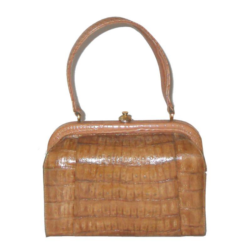 Vintage Waldybag crocodile handbag