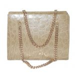 1960s cream croc handbag with chain handles