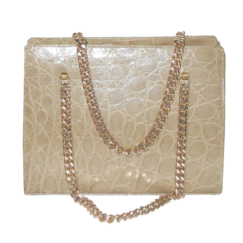 1960s cream croc handbag with chain handles