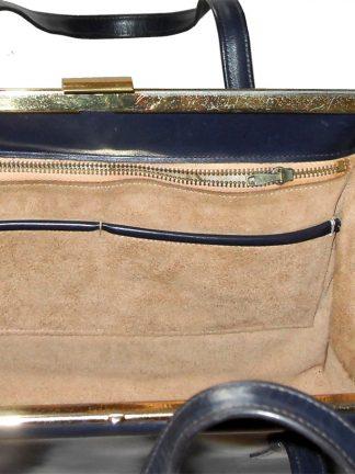 Large navy blue framed handbag
