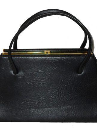 Maclaren large black vinyl framed handbag