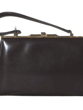 Vintage Middx dark brown leather framed handbag