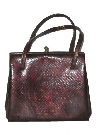 Burgundy faux snakeskin Elbief framed handbag with suede lining