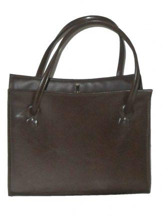 Vintage St Michael textured brown vinyl framed handbag