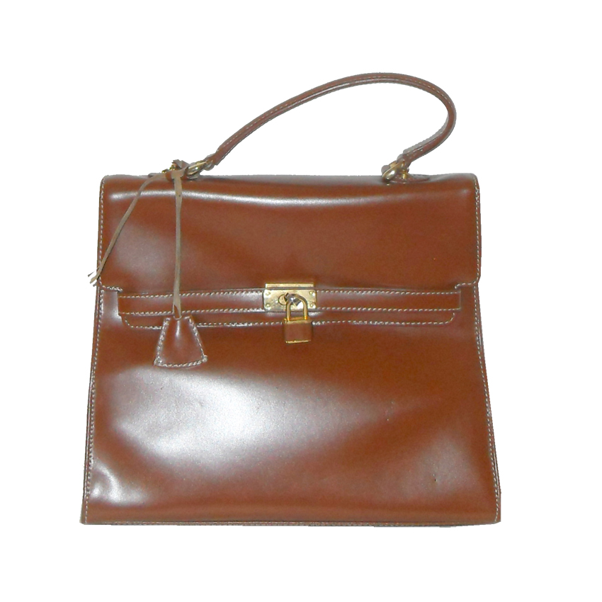 Retro Jane Shilton brown leather handbag