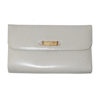 Retro Bally cream clutch bag