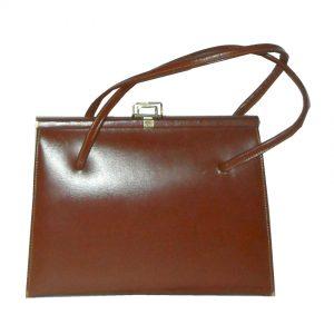 Brown leather framed handbag
