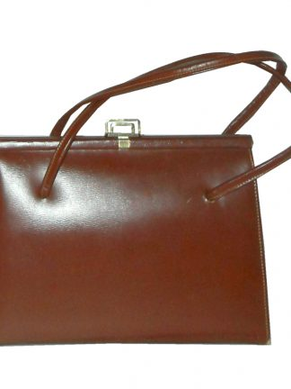 Brown leather framed handbag